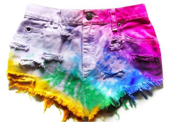 multicolored rainbow studded shorts