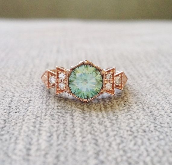 "Antique Diamond Mint Moissanite Engagement Ring Rose Gold 1920s Copper Gemstone Rustic Bohemian PenelliBelle Green Exclusive ""The Florence"""