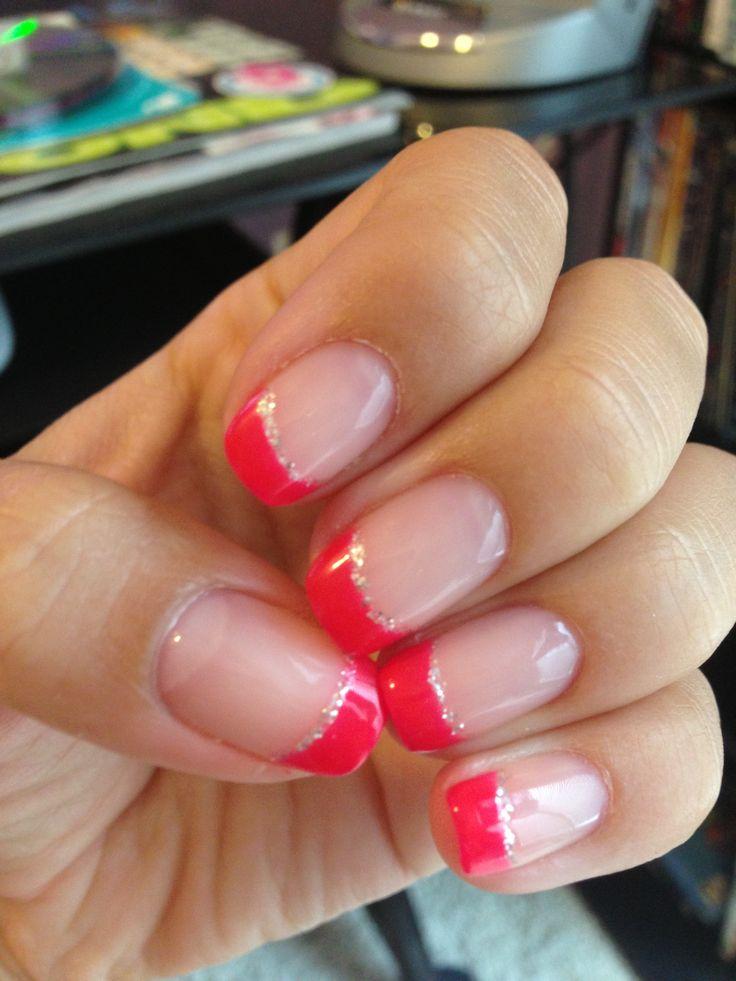 French tips-Hot pink shellac nails