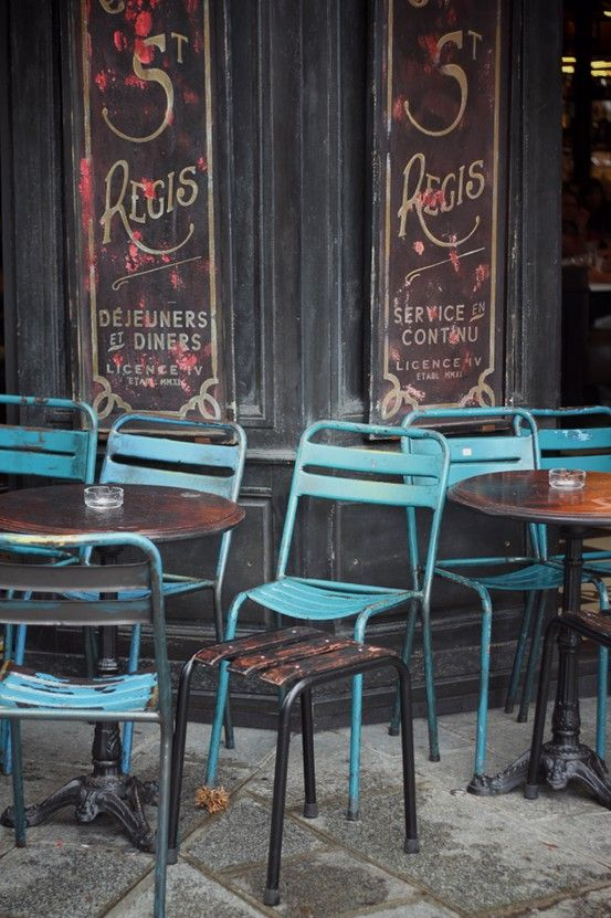 Love those French cafe chairs, industrial style restaurant chic Repinned by www.silver-and-grey.com