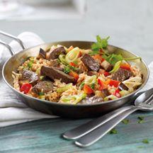 Reispfanne mit Steakstreifen