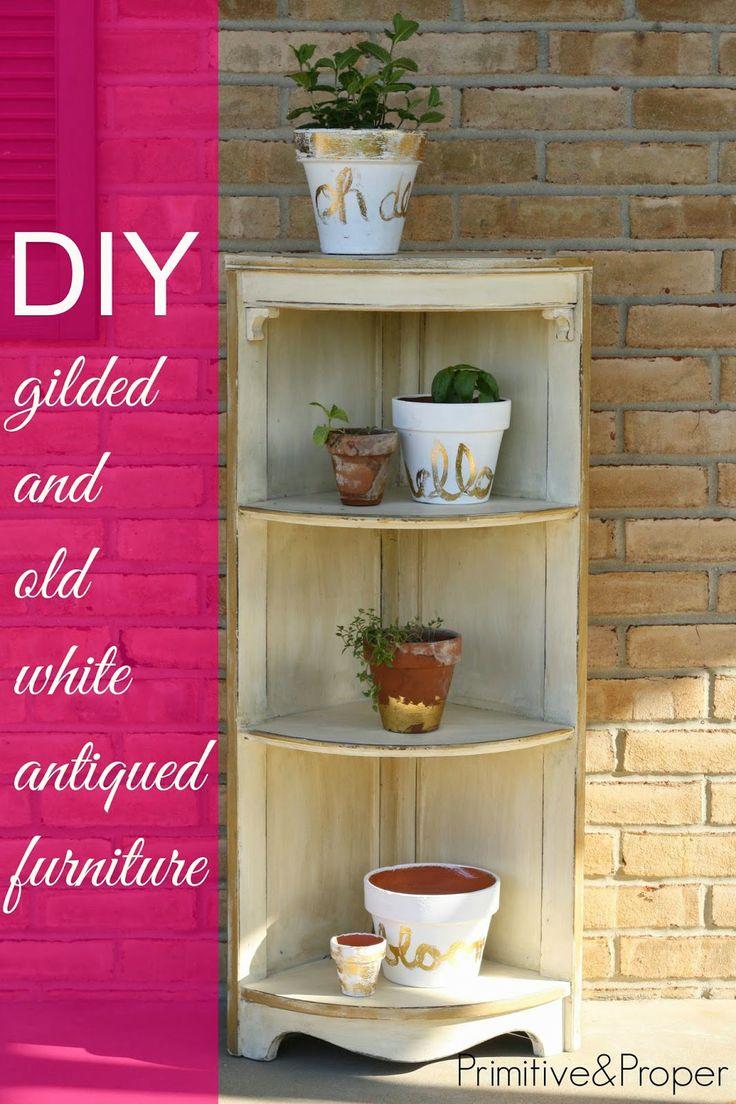 DIY gilded and antiqued corner shelf- great tip for ...