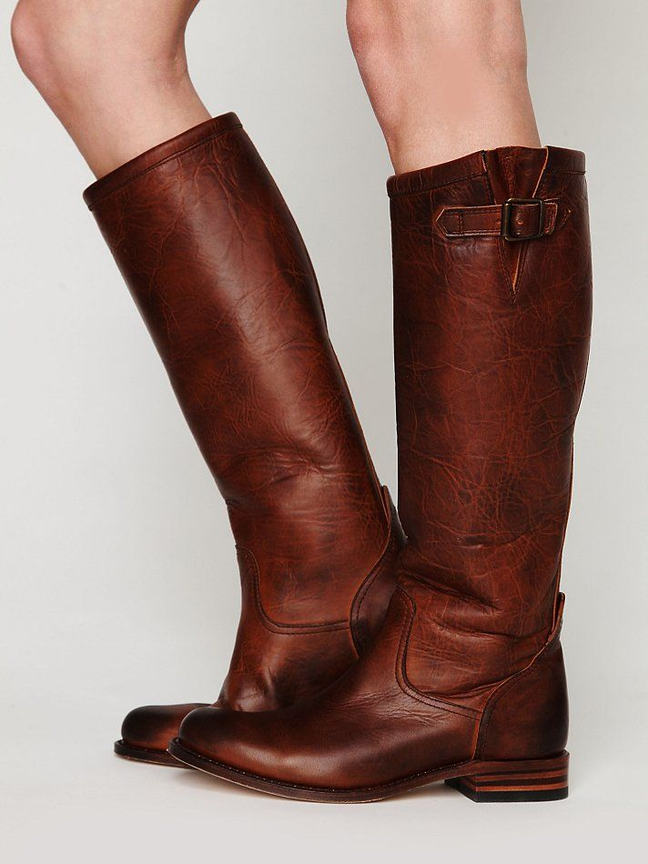 distressed leather tall boots