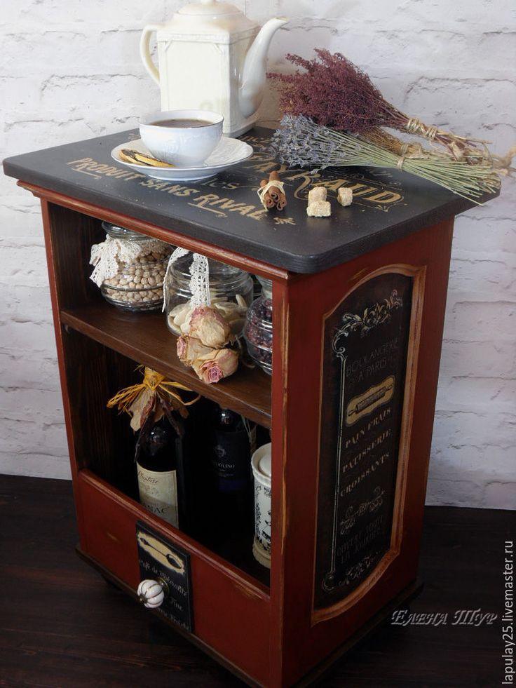 """Купить """"Французское кафе 2"""" тумба-островок на колесах - бордовый, тумба из дерева, тумба прикроватная"""