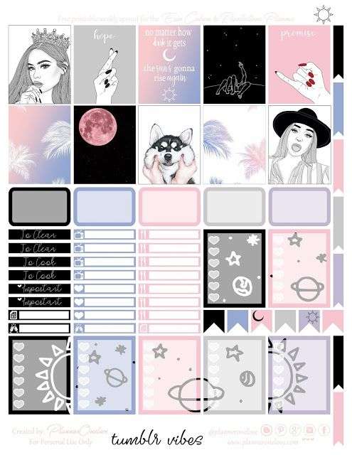 Free Printable Tumblr Vibes Planner Stickers from Planner OneLove
