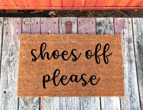 Shoes Off Please Coir Door Mat Doormat 16x24 18x30 Etsy Door