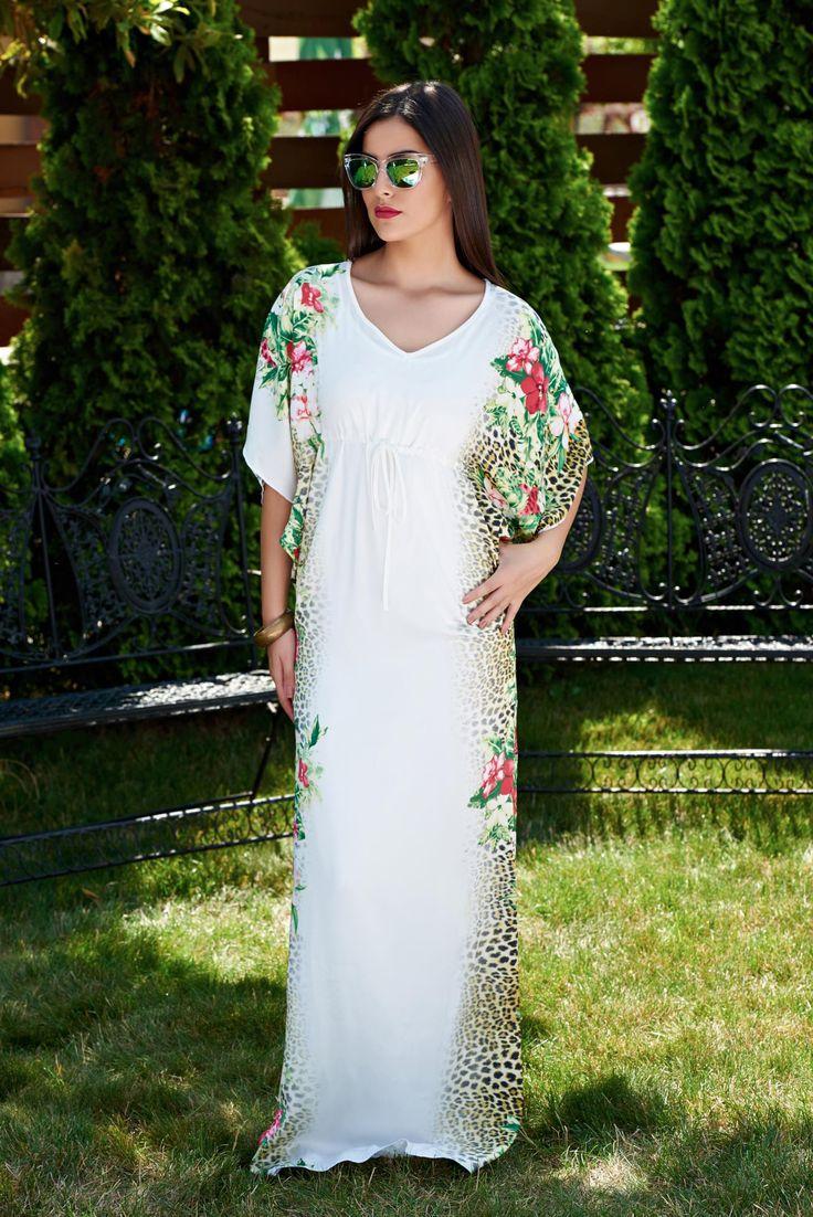 Rochie MissQ Lovely Feeling White. Rochie MissQ lunga, lejera si vaporoasa, cu imprimeu floral si animal print.