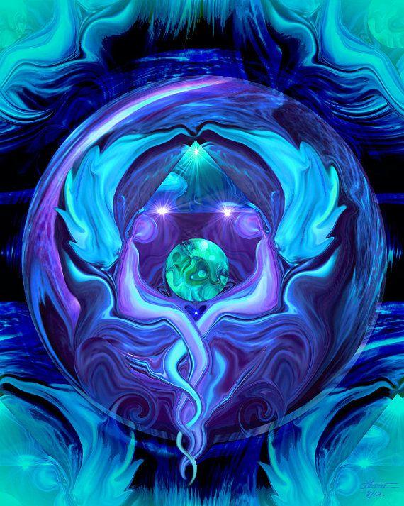 reiki wall art | Reiki Wall Decor Angel Healing Energy Art Blue Violet Decor 8 x 10 ...