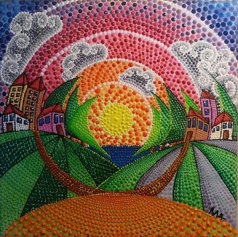 Quadro 20x20 cm Tecnica Puntinismo con colori acrilici TRAMONTO Autore: Alessandra Massaccesi
