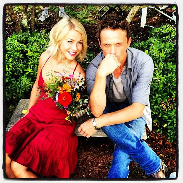 Safe Haven stars Julianne Hough and David Lyons (who play Katie and her husband Kevin Tierney) took a quick break and posed for a snap on set.