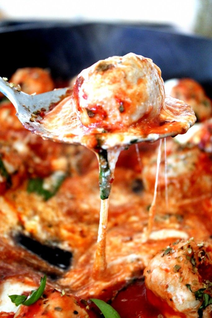 Turkey Meatballs in Tomato Basil Sauce with Cheese