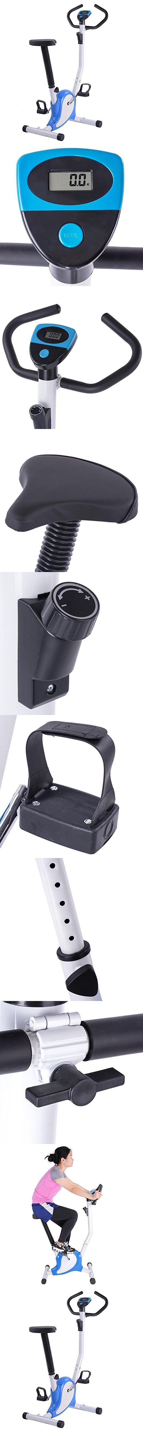 AW Blue Exercise Bike Fintess Cycling Machine w/ LCD Display Personal Gym Cardio Aerobic Equipment
