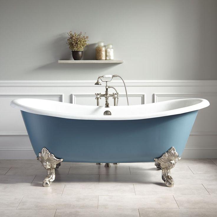 """72""""+Lena+Cast+Iron+Clawfoot+Tub+-+Monarch+Imperial+Feet+-+Slate+Blue Guest. Bathroom. Bathtub."""