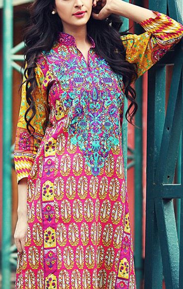 Buy Shocking-Pink Embroidered Cotton Lawn Kurti by RajBari Embroidered Kurti Collection 2015.