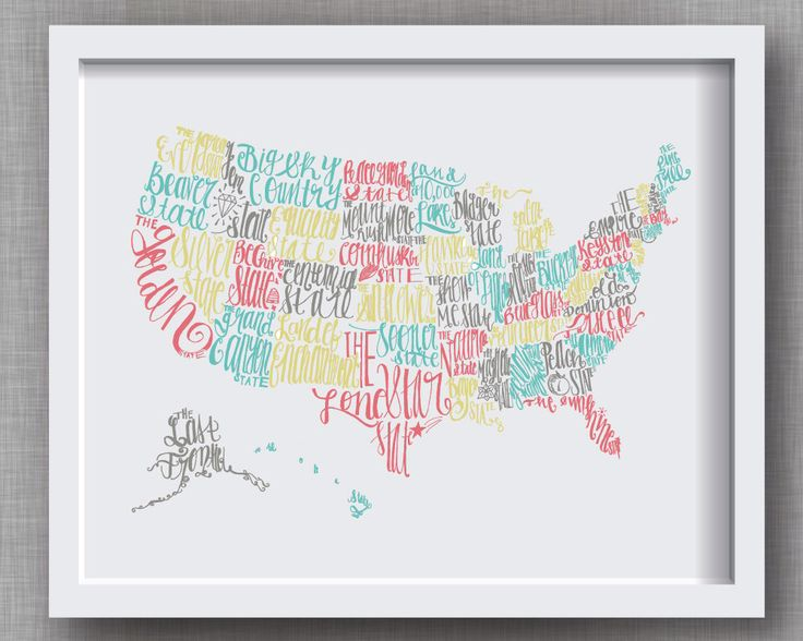 U.S. Art Print - Hand Lettered State Nicknames in Midcentury Modern Color Palette -- United States Map, 8x10 or 11x14, Aqua Green Gray Pink by FrannyandFranky on Etsy https://www.etsy.com/listing/194946602/us-art-print-hand-lettered-state
