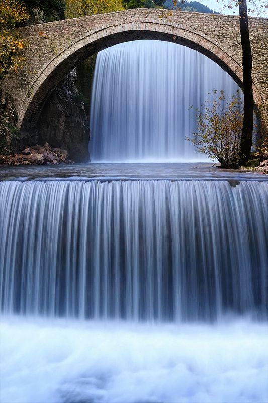 Prelude to Autumn by Mary Kay   Location: Trikala, Greece: Natural Photography, Beautiful Waterfalls, Mary With, Greece, Fountain, Bridges Waterf, Autumn Photo, Stones, Adventure Travel