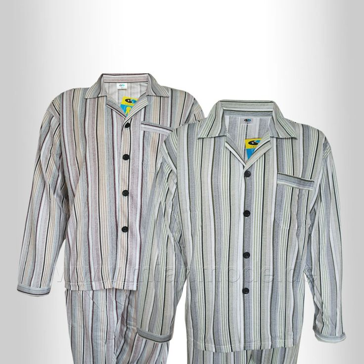 Herren Schlafanzug, Pyjama gestreift 100% Baumwolle Grün, braun