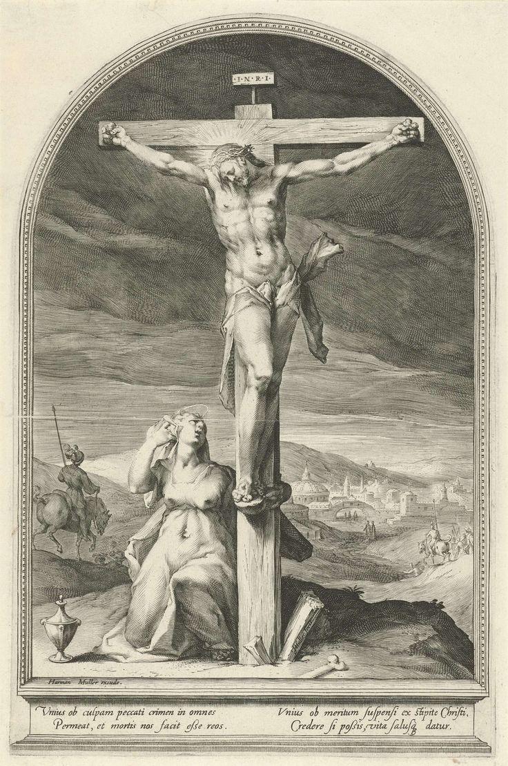 Jan Harmensz. Muller   Maria Magdalena aan de voet van het kruis, Jan Harmensz. Muller, 1593   Christus hangt aan het kruis. Maria Magdalena slaat haar arm om de voet van het kruis en kijkt op naar Christus. Naast haar staat de zalfpot. Op de achtergrond rijden soldaten te paard weg. Onderaan in de marge een tekst in het Latijn.