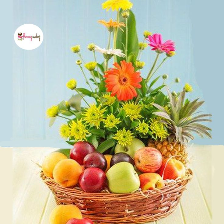 A Basket Filled With Seasonal Flowers And Fresh Fruit Gift Basket. Ideal  For Relatives, As A Thank You Gift, For Employees, For Convalescence, ...