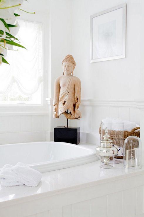 Ally Coulter Designs - bathrooms - paneled drop in tub, paneled drop in bathtub, drop in tub, drop in bathtub, mercury glass jars, mercury glass bathroom accents, glass cloche, cloche, buddha, bathroom buddha, buddha statue,