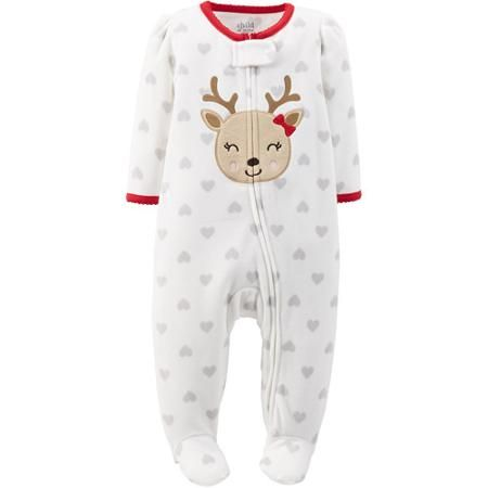 Child of Mine by Carter's Newborn Baby Girl Zip Close Christmas Reindeer Sleep n' Play
