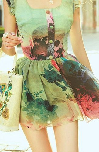 Spring outfit. A watercolor dress. Beautiful..