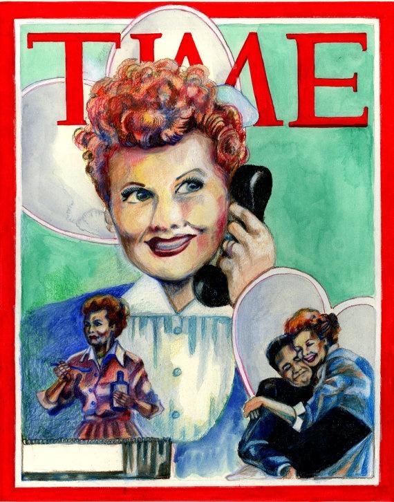 Vintage Time Magazine Illustration I LOVE by SimplyArtByKristin, $68.00