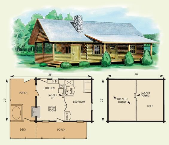 Small Homes That Use Lofts To Gain More Floor Space: I Like This Plan! Small Log Cabin Floor Plans