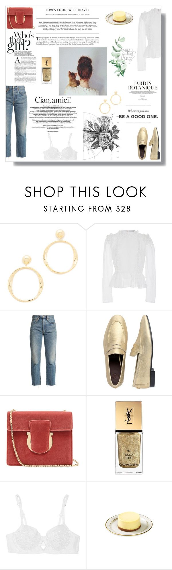 """""""""""No medicine cures what happiness cannot."""""""" by nina-lala ❤ liked on Polyvore featuring Kate Spade, Laura Garcia, RE/DONE, Bougeotte, Salvatore Ferragamo, Yves Saint Laurent, Madame Aime and Boudicca"""