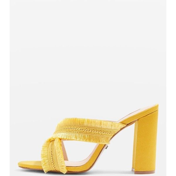 Topshop Rhonda Fringed Mules (297160 PYG) ❤ liked on Polyvore featuring shoes, fringe, high heel shoes, high heel mules, mule shoes, topshop mules and high heeled footwear
