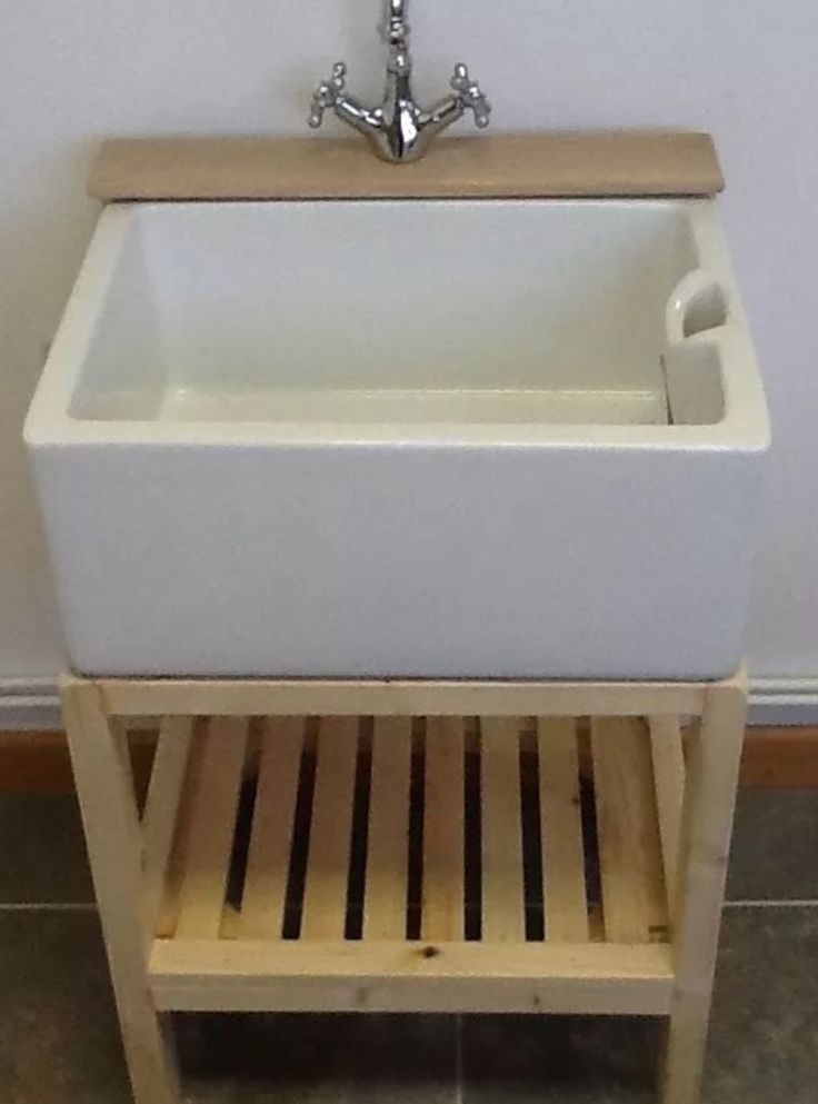 """Wooden stand and hardwood tap ledge. 24"""" x 18"""" x 10"""" Belfast sink. Wooden unit £195. To fit. Total measurements.   eBay!"""
