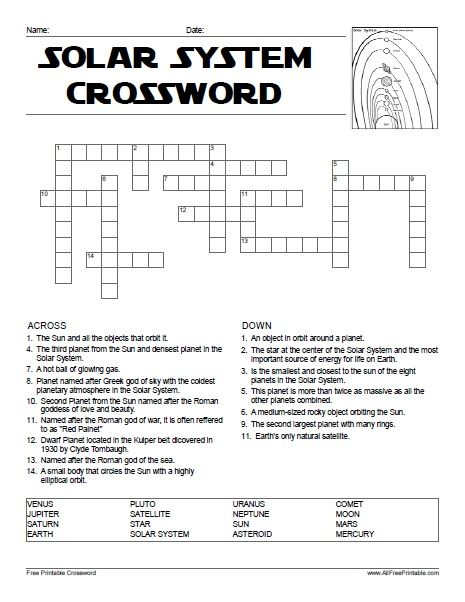 Free Printable Solar System Crossword Kids Stuff Kids Crossword