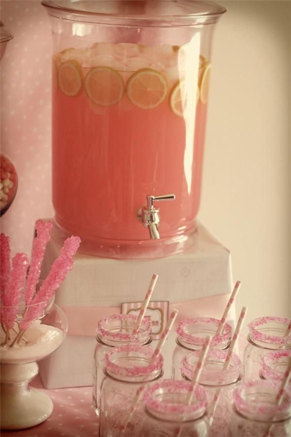 Save this pin -  Pink Giraffe Baby Shower Dessert Table. Love this idea for some pink lemonade!...