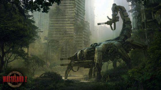 Wasteland 2 concept art. Scorpion ... minigun-tailed ... death mech thingy.