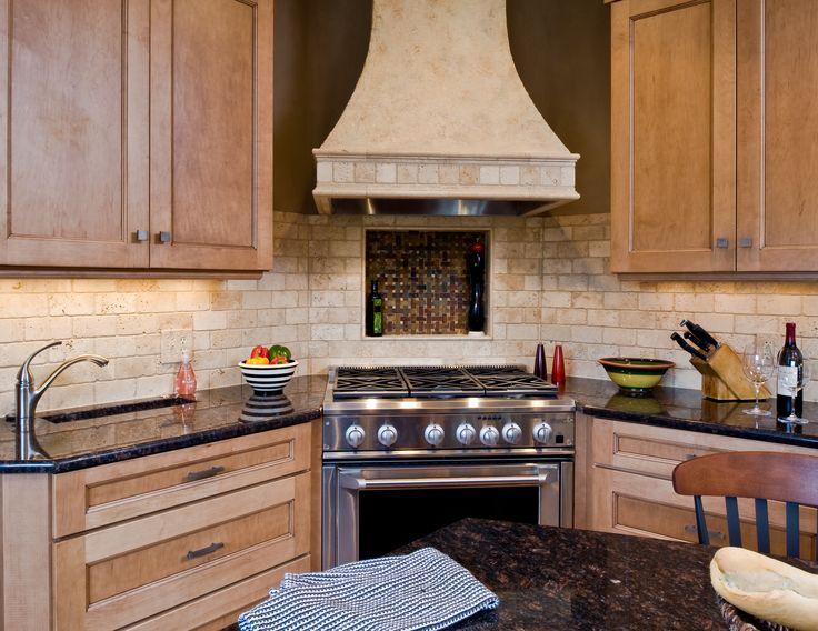 Transitional Kitchen Canopy Hood Trough Sink Niche
