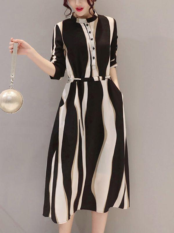 高品質配色七分袖ストライプ柄エレガントワンピース ロング丈ワンピ - レディースファッション激安通販|20代·30代·40代ファッション