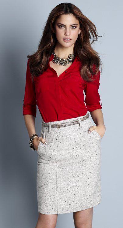 Tweed Pencil Skirt; business attire, work attire