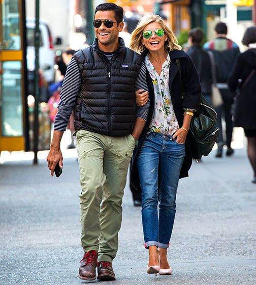 Kelly Ripa's street style... love it ALL, right down to the green mirrored sunnies!