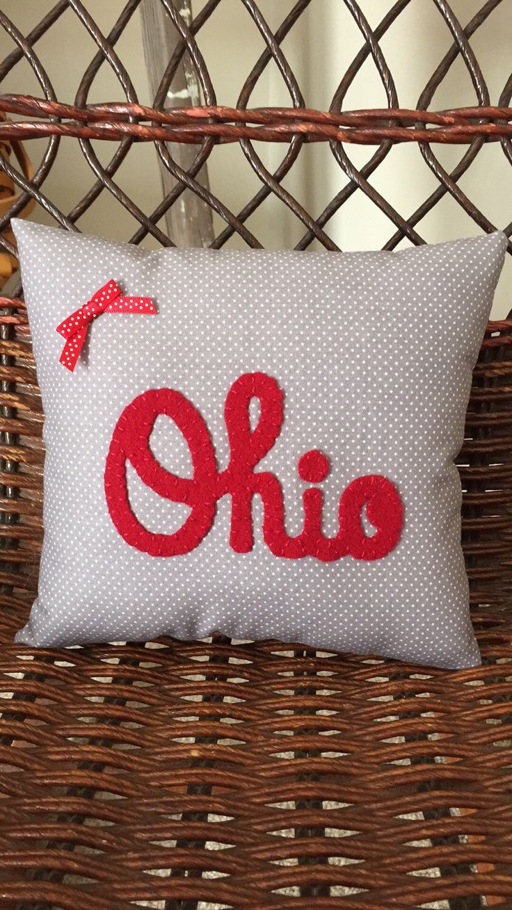 This Ohio State Pillow Is So Cute And Would Make A Great Valentineu0027 Day  Gift For That OSU Student. Pillow Is Grey W/ Polka Dots With Ohio Done In  Red Wool ...