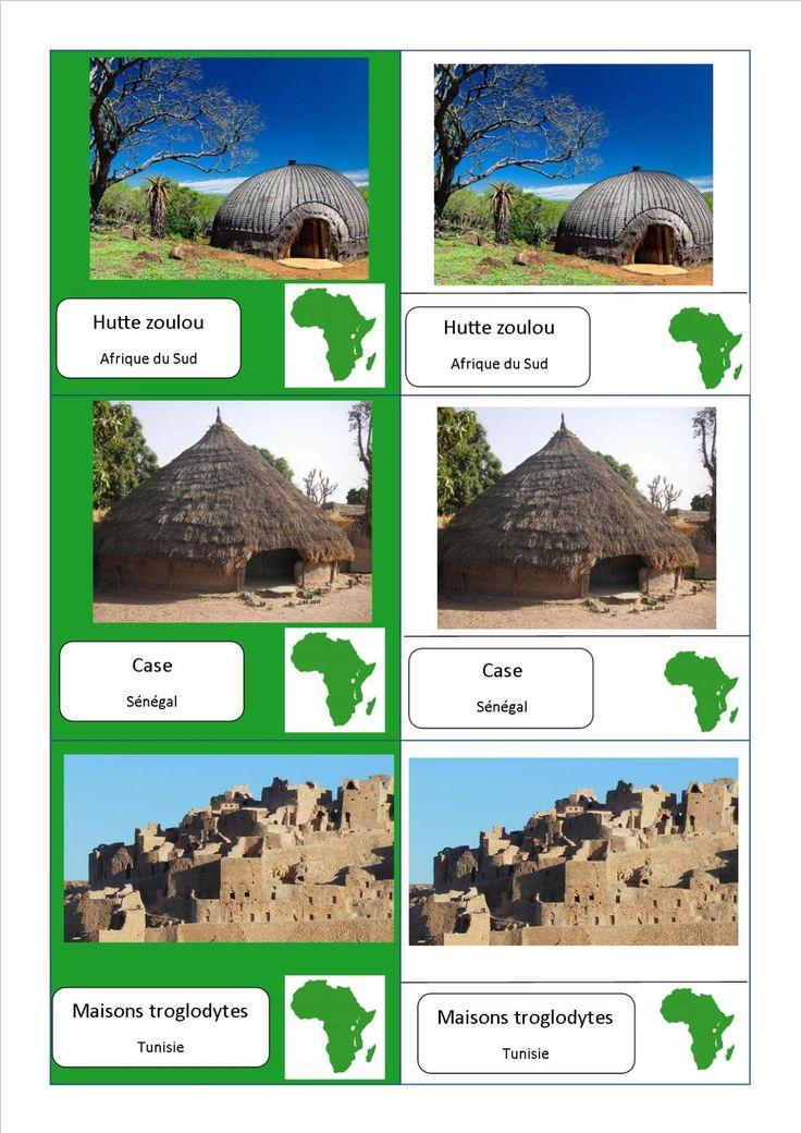 cartes nomenclature habitats Afrique fichier PDF complet des habitations du monde entier ici : http://activitesmaison.com/2015/06/06/voici-mes-cartes-de-nomenclatures-montessori-sur-les-habitations-du-monde/