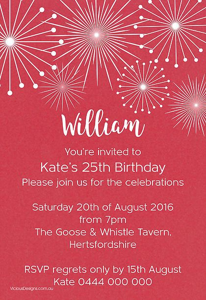 Fireworks Birthday invitation from our 'Fire & Ice' range featuring festive firework sprays. White ink printed on Sassy red shimmer card.