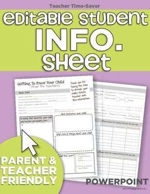 Editable Student Information Sheet from KindergartenWorks on TeachersNotebook.com (4 pages)