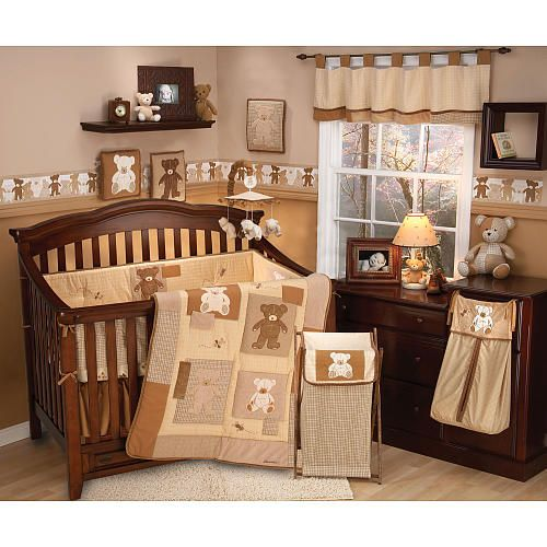 Eddie Bauer Teddy Bear 4 Piece Crib Bedding Set Crown