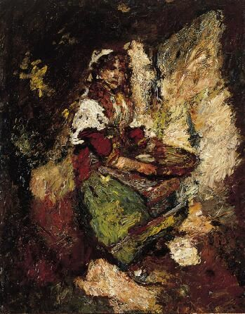 The Olive Oil Seller,	c. 1880  Adolphe-Joseph-Thomas Monticelli  French, 1824-1886 Oil on panel 20 x 15-3/4 in. (50.8 x 40 cm) Norton Simon Art Foundation