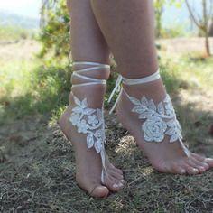 Sandales aux pieds nus plage de mariage plage ivoire mariage sandales aux pieds nus