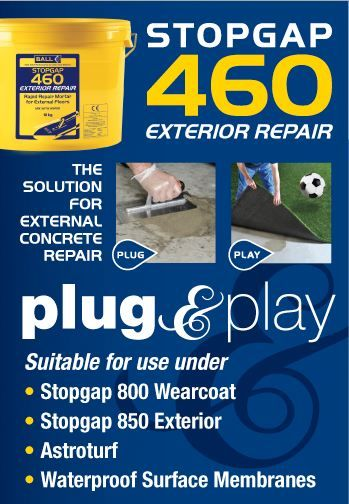 STOPGAP 460 is a polymer modified, fast setting mortar for repairing external floors prior to the application of STOPGAP 850 or for use in internal applications under STOPGAP waterproof surface membranes. It has been specifically designed for use in damp conditions and has excellent freeze / thaw resistance when used in external environments.STOPGAP 460 can be used for the non-structural repair of lower strength concrete elements such as floor screeds, concrete paving slabs, balcony edges..