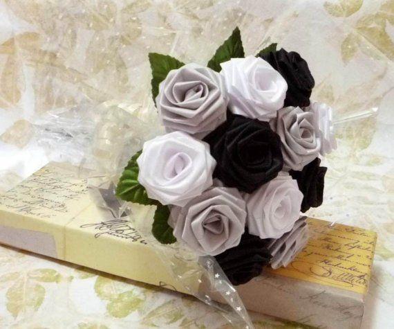 Origami Black and White Rose Bouquet 1 Dozen Gift by Lunatiger, $20.00