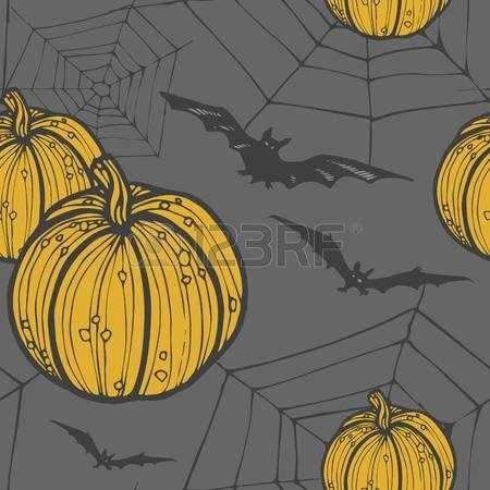 Hand drawn seamless halloween background with pumkin, bat and web. -8