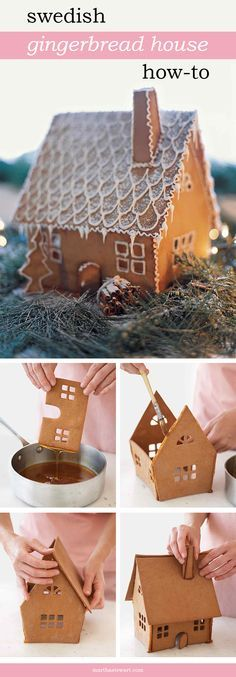 Sweet details such as piped icicles, boughs of greenery, and a cinnamon-stick woodpile lend realistic charm to our Swedish gingerbread cottage. A light dusting of confectioners' sugar mimics freshly fallen snow.