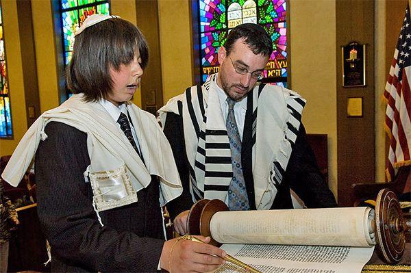 A Bar Mitzvah boy reading the Torah